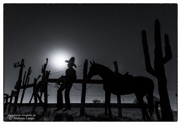 Cowboy bei Vollmond