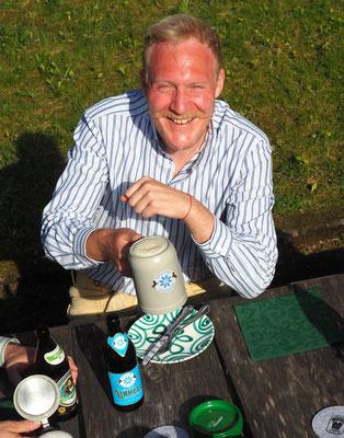 Trachtenhemd Arzberger blau-weiß gestreift grob, Max Wölfl, Hirschlederhose München