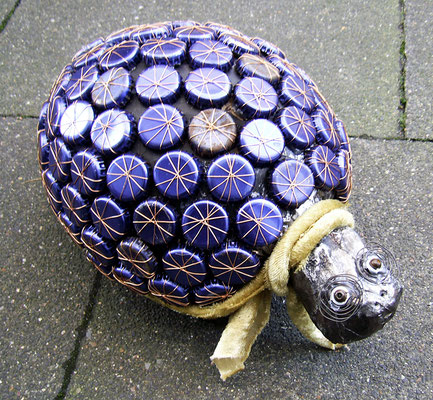 Tortoise - Paper maché, bottle caos, wire, tape, fabric, beads [SOLD]