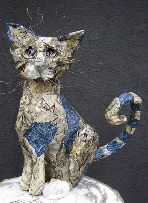 Cat - Paper maché, beads and wire