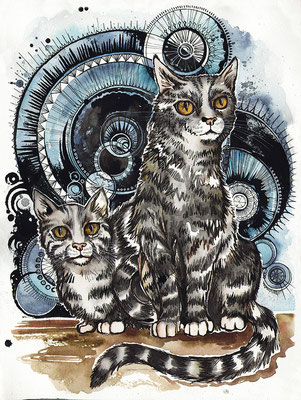 """Moon Cats"", watercolours and ink, 2018"