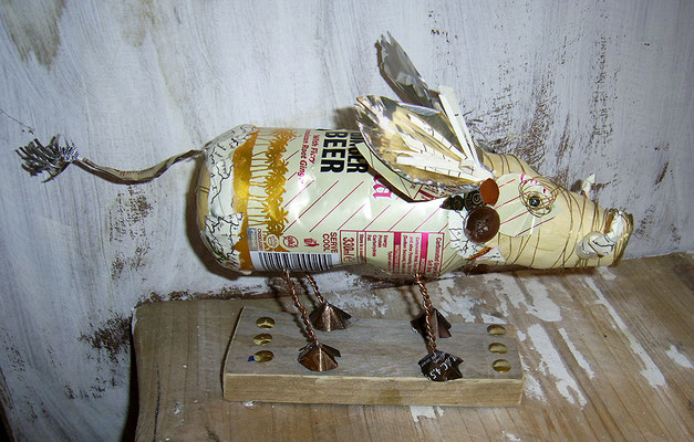 Ginger beer piggy bank - Beer cans, paper, wire, beads, wood [SOLD]
