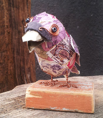 Bird - Paper maché, stamps, felt, beer cans, wire, beads