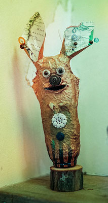 Piggy bank creature - Paper maché, buttons, paper, wire, beads, wood