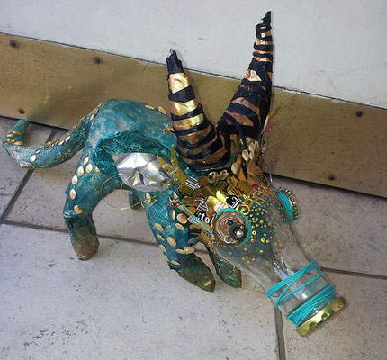 Piggy bank dinosaur creature - Paper maché, glass bottle, string, wire, beads [SOLD]