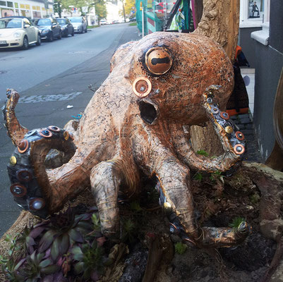 Octopus - Paper maché (music sheets), tape, wire, nuts and bolts, beads [SOLD]
