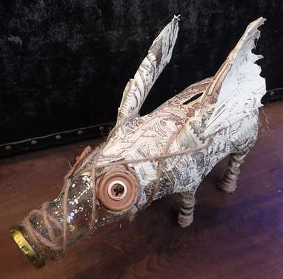 Piggy bank - Paper maché, glass bottle, string, beads