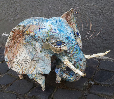 Elephant - Paper maché, wire, beads [SOLD]