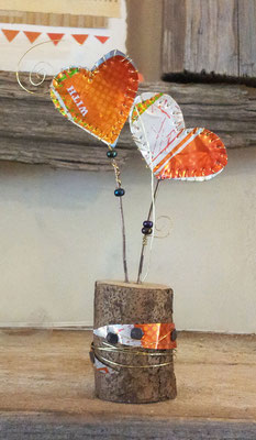 Hearts - beer cans, wire, beads, wood [SOLD]