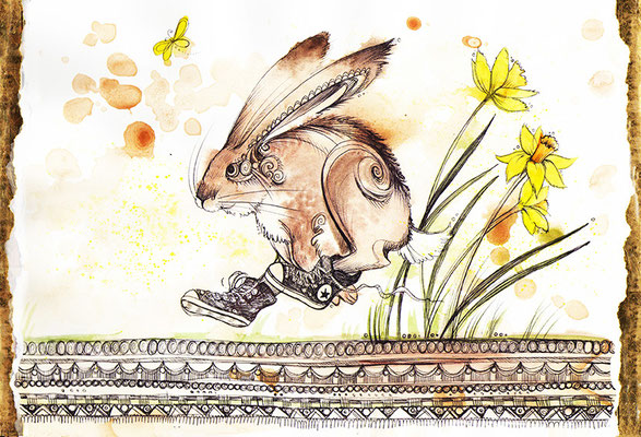 Design for an Easter greeting card, watercolours & biro, 2015