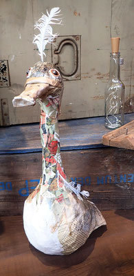 Goose - Paper maché, string, wire, feathers, beads