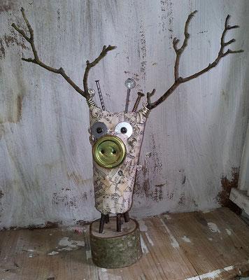 Bird - Paper maché, twigs, bottle cap, wire, beads [SOLD]
