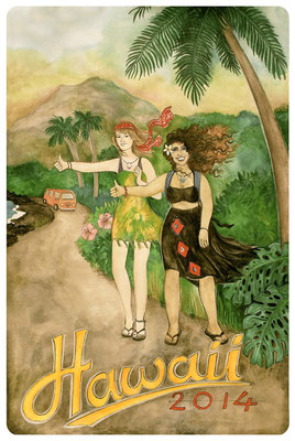"Book cover for ""Hawaii 2014"", watercolours, coloured pencil & biro, 2014"