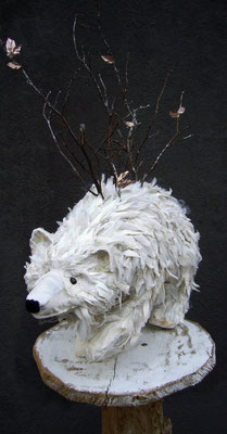 Polar Bear - Paper maché base with fabric scraps and tree branches