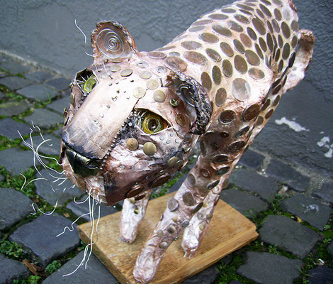 Cheetah - Paper maché, copper coins, wire, beads [SOLD]