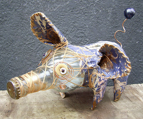 Piggy bank - Paper maché, glass bottle, string, buttons, wire, beads [SOLD]