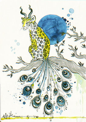"""Leopard Chimaera"", watercolours & fineliner, 2016"