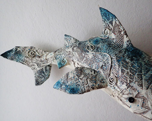 Shark - Paper maché, wire, beads [SOLD]