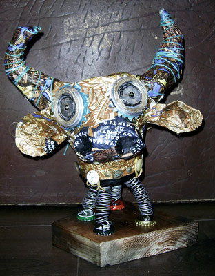 Piggy cow bank - Paper maché, beer cans, string, wire, beads [SOLD]