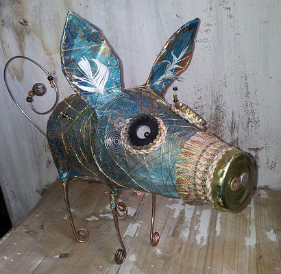 Piggy bank - Paper maché, wire, fabric, bottle caps, feathers, string, beads [SOLD]