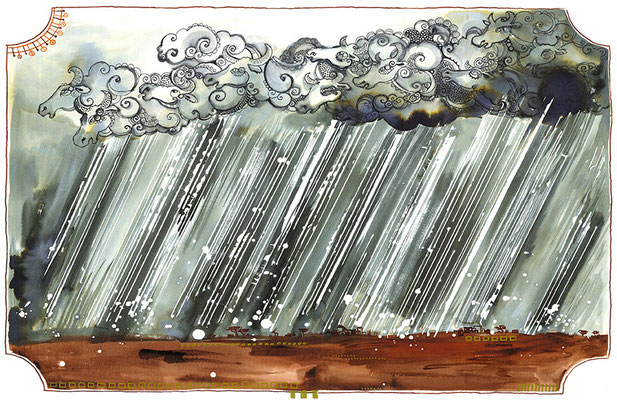 "From ""Horizon to Horizon"" (university project), watercolours, ink & fineliner, 2013"