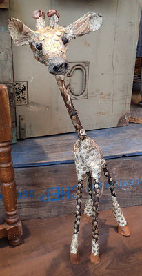 Giraffe - Paper maché, tree branches, brass pins, leather, beads [SOLD]