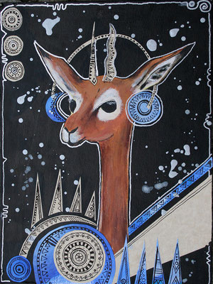 """Space Bokkie"", mixed media, 2011"