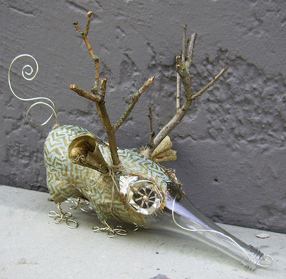 Piggy bank aardvark animal - Paper maché, glass bottle, twigs, string, wire, beads [SOLD]