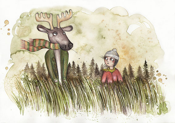 "From ""Cara und der Elchmensch"" (unpublished), watercolors & coloured pencils, 2015"