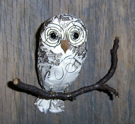Owl - Paper maché, twig, wire, beads [SOLD]