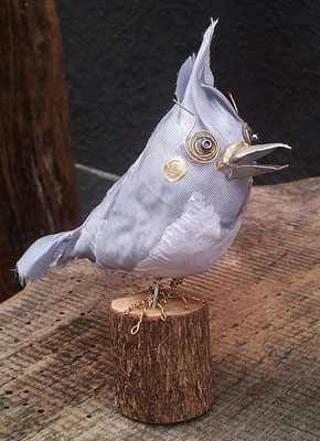 Bird - Paper maché, fabric, beer cans, wire, beads