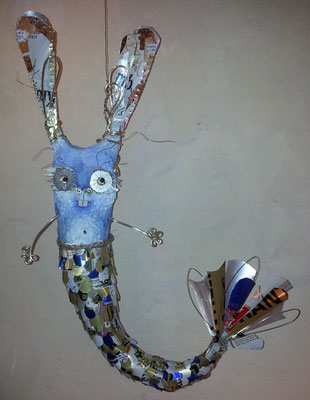 Mer Rabbit - Paper maché, glass bottle, string, beads [SOLD]