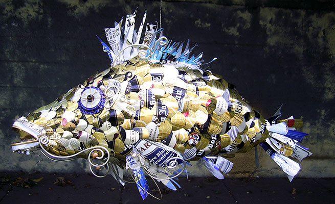 Fish - Beer cans, bottle caps, wire, beads [SOLD]
