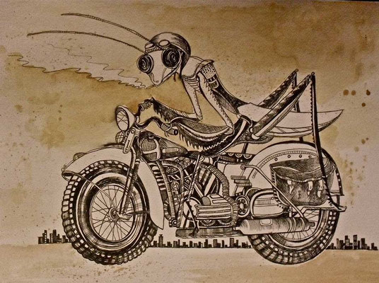 """Motorbike Mantis"", watercolours & fineliner, 2012"