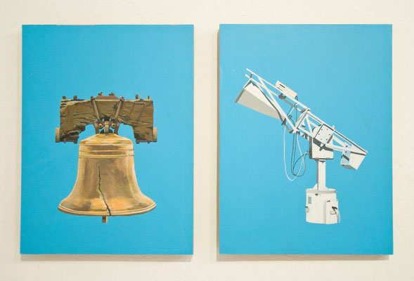 Serie Physik-Metaphysik: Freedombell-Hornantenne, 2013, Acrylic on wooden board, 24cm x 18cm
