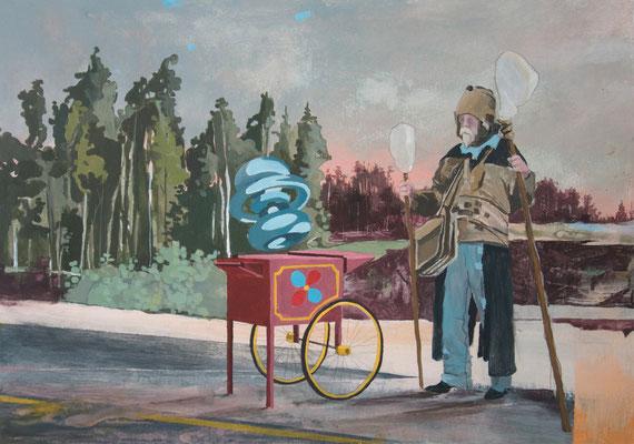 Stoff und Form, 2012, Acrylic on cardboard, 29,7cm x 42cm