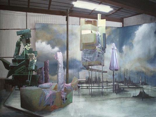 Studio, 2007, Acrylic/collage on canvas, 90cm x 120cm