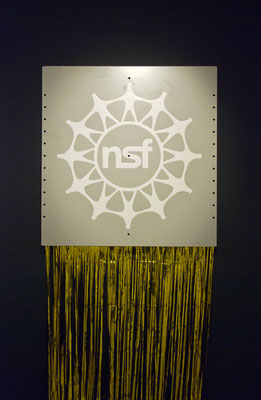 NSF(National Science Foundation), 2013, varnish on steel-panel, gold foil, 70 x 70 x 200cm