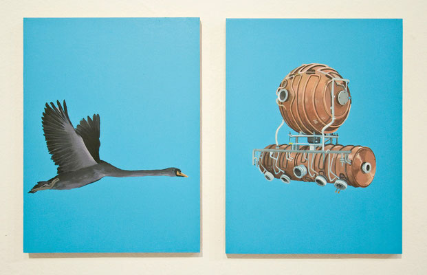 Serie Physik-Metaphysik: Schwan-Vacuumchamber, 2013, Acrylic on wooden board, 24cm x 18cm