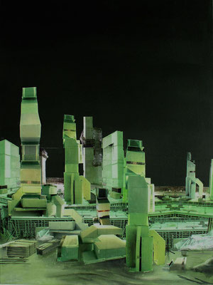 Siedlung, 2003, Acrylic/collage on canvas, 100cm x 75cm