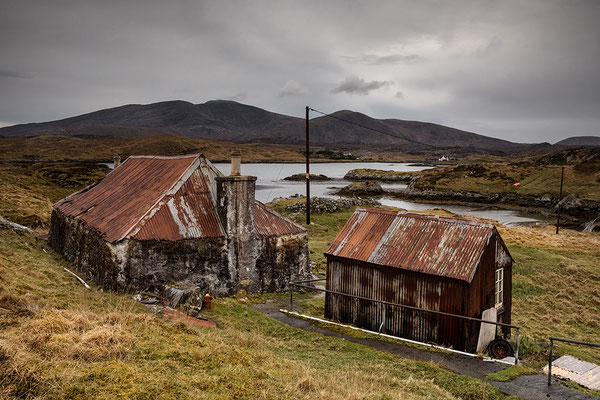 Aufgegebenes Crofthouse Fins Bay, Golden Road, Isle of Harris