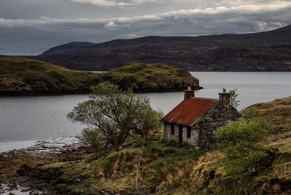 Aufgegebenes Crofthouse, Loch Maaruig, Eilean Anabuich, Isle of Lewis