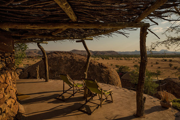 Blick von der Terrasse unseres Bungalows
