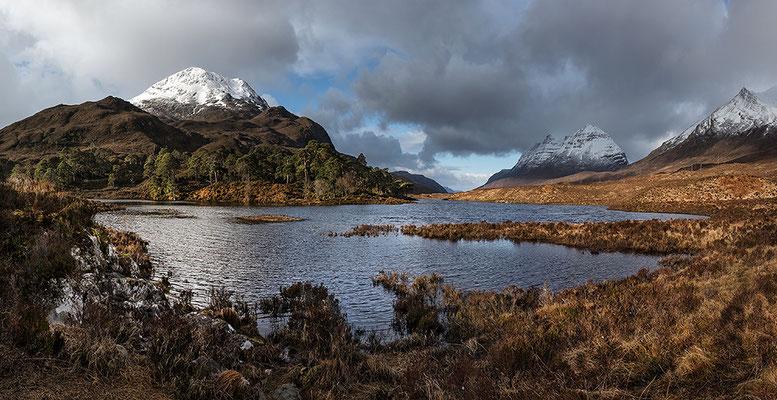 Loch Clair mit Sgurr Dubh, Liathach, Beinn Eighe bei Torridon, Westerross