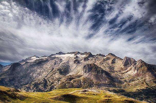 Blick auf Pico de Aneto und Pico de Maladeta
