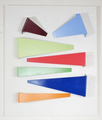 """Relief """"Farblandschaft"""", 2019, 69x57x9cm, Aluminiumblech, Holz"""