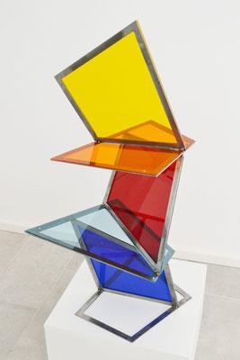 """Grooving Squares"", 2018, 100x40x57cm, Eisen, Acrylglas"