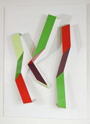 "Relief ""Knicke"", 2019, 87x63x18cm, Aluminiumblech, Holz"