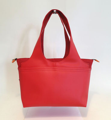 Shopper Moyen Modèle Skaï rouge+Alcantara rouge-inter orange