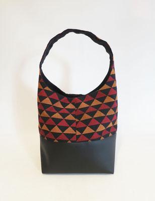 Petit Sac Seau Tissu triangles rouges oranges noirs+Skaï noir